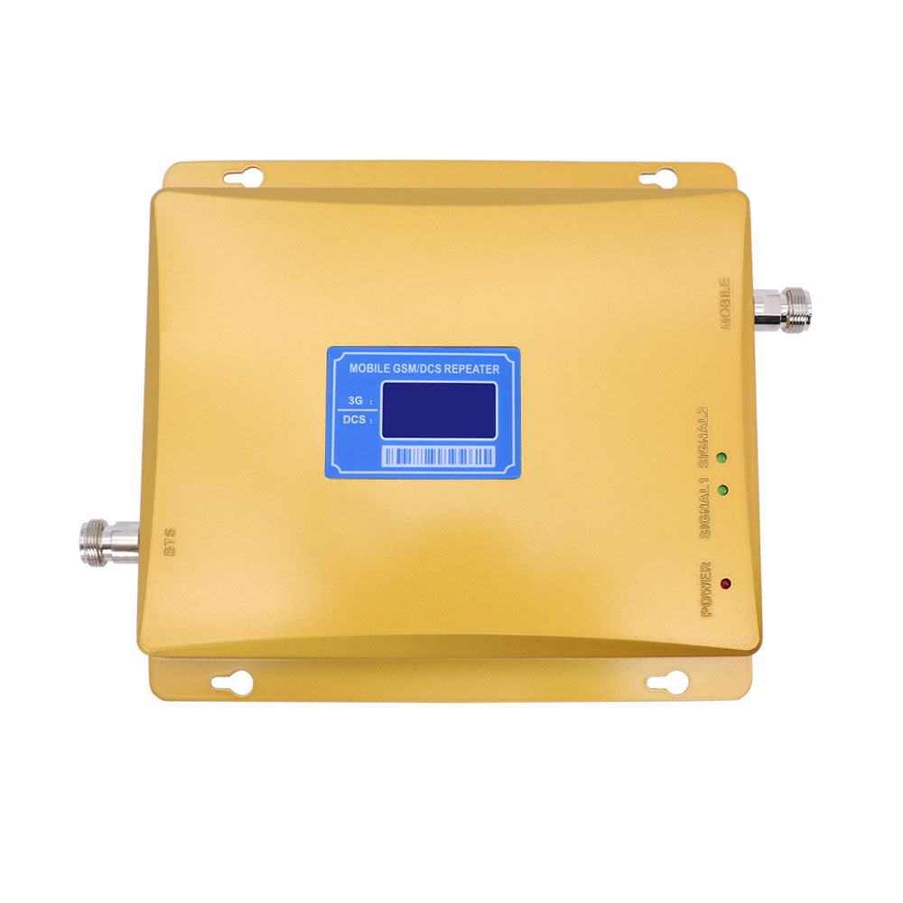 3g 4g lte Repeater 2100MHz 1800MHz Dual band Repeater 65dbi LCD Display Signal WCDMA DCS 1800