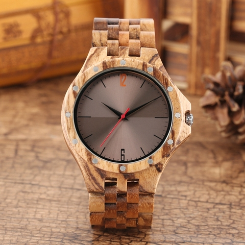 Retro Retro Wooden Watches Quartz Watches Men Unique Smooth Dial Silver Rivets Full Wood Wrist Watches Fashion Simple Man Clock Pakistan