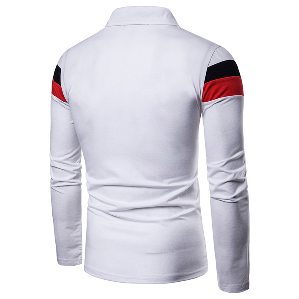 Image 5 - ZYFG free men Polo long sleeve contraster color stitching turn down collar polo shirt simple casual gentleman tops man clothing-in Polo from Men's Clothing