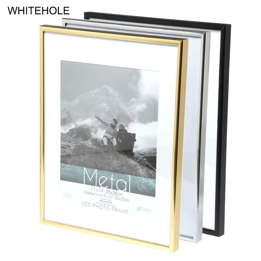 מתכת תמונה מסגרת קלאסי מינימליסטי שולחן עבודה תמונה מסגרת 9x13 13x18 21x30cm Pleixglass בתוך תעודת מסגרת