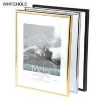 Metal Picture Frame Classic Minimalist Desktop Photo Frame 9x13 13x18 21x30cm Pleixglass Inside Certificate Frame