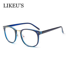 LIKEUS womens optical glasses frame eyewear Square rievt eyeglasses Frame clear Metal Vintage quality