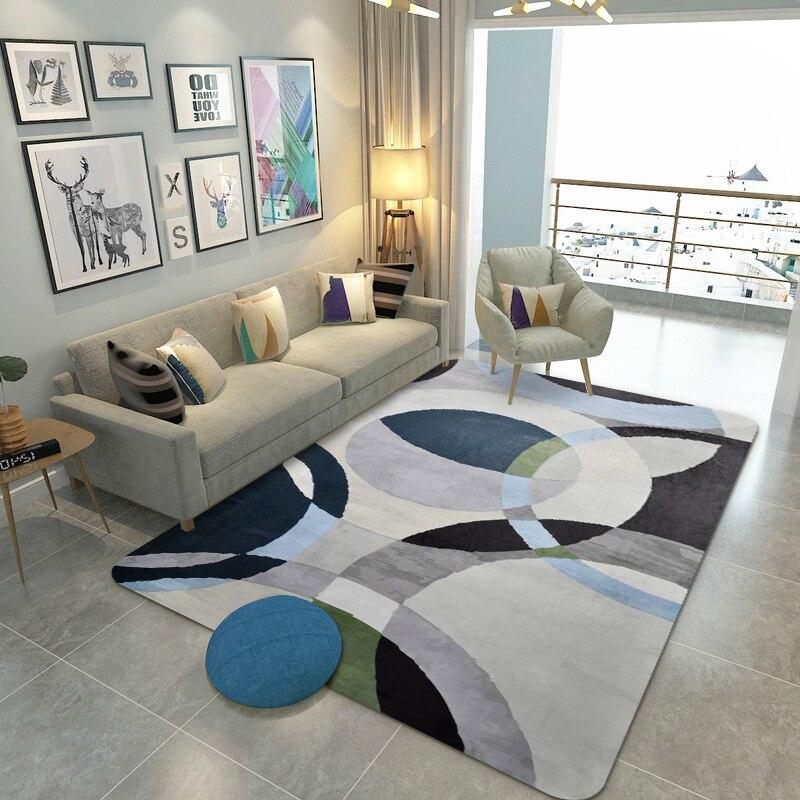 Géométrie européenne créative grande surface tapis pour salon chambre décor doux tapis maison chevet Rectangle tapis de sol tapis