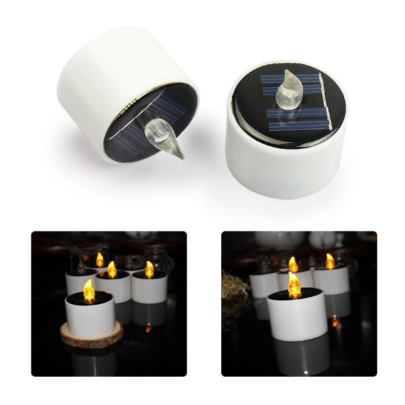 6pcs Solar Power LED Candle Light Lamp Candle Shape Home Decoration Energy Saving LED Light Romantic Atmosphere Night Light
