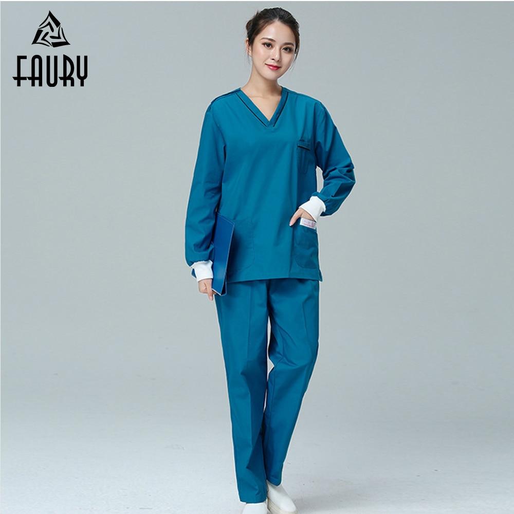 2018 Nurse Uniforms Women Men Medical Nursing Scrubs Clothes Long ...