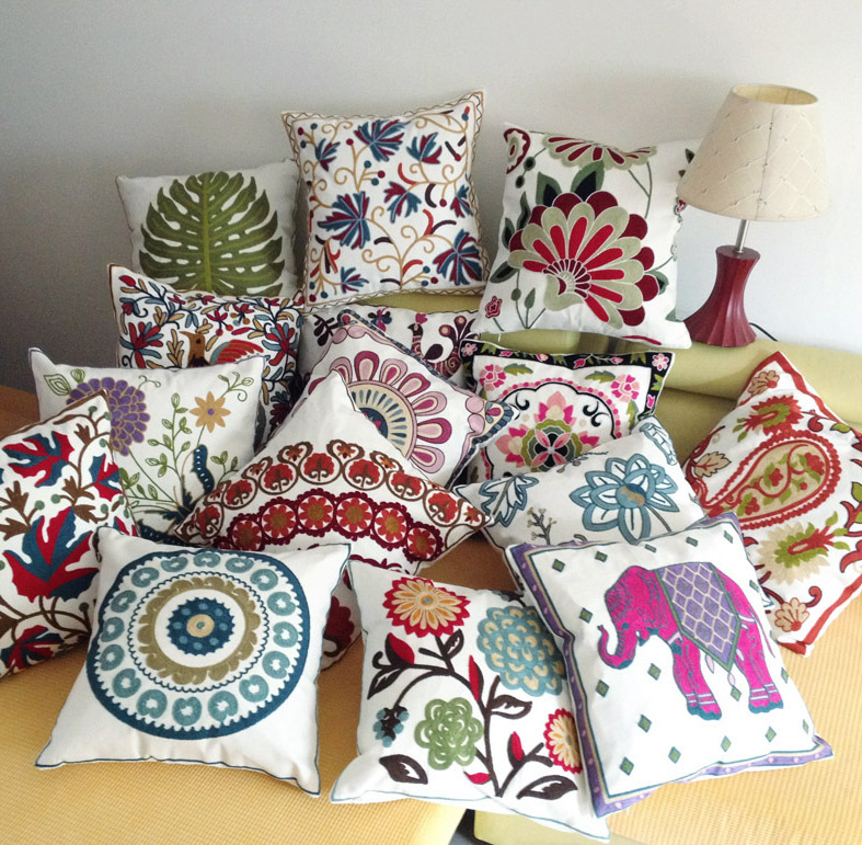 Favorite Embroidery Flowers Elephant Bird Cushions Covers Embroidered  MS97