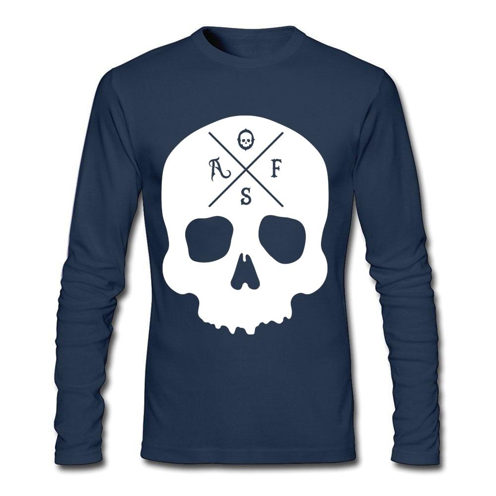 Design t shirt murah - Af Skull Desain Sendiri T Shirt Disesuaikan Pria Panjang Lengan Pakaian Murah Grosir O Neck