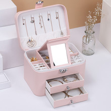 Fashion Design Leather Jewelry Box Case Package Storage Large Space Ring Necklace Bracelet Hot Selling