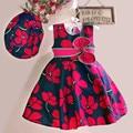 Новое лето хлопок девушки подарок платье с hat цветочный печати повседневная девушка моды рукавов венчания партии платья на день рождения 3-7Y