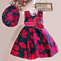 Nuevo regalo de las muchachas del vestido de algodón con el sombrero de verano flor de la impresión ocasional de la muchacha de partido sin mangas vestidos de novia de cumpleaños 3-7Y