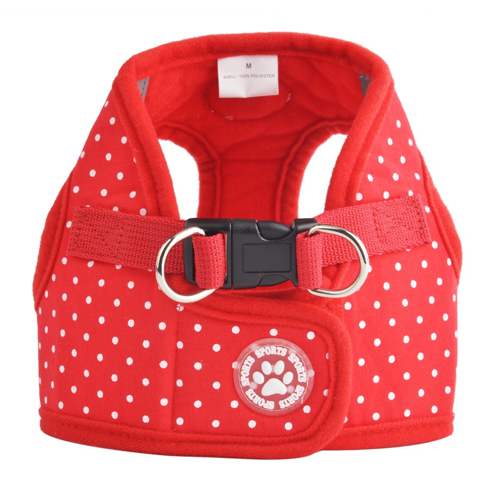 Justerbar Soft Puppy Cotton Harness Vest Step-in åndbar Pet Cat Dot Design Harness & Leash Størrelse XS til XL