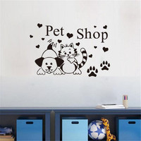 Fashion Pet Shop Vinyl Wall Decals Cat And Dog Paw Print Funny Kids Room Wall Sticker