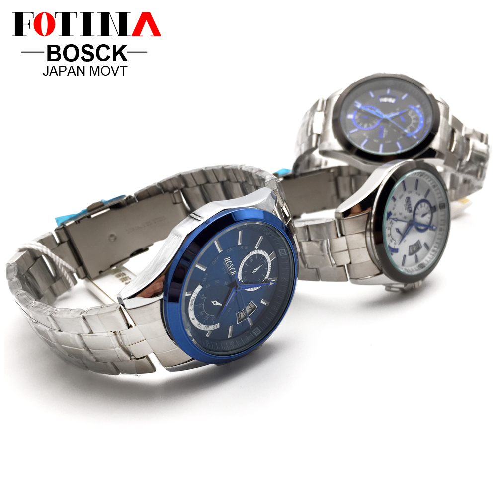 FOTINA Top Brand BOSCK Casual Business Watch Men Stainless Steel Water Resistant Quartz Clock Auto Day Date Watches Montre Homme 6