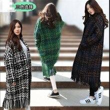 Autumn Winter New 2016 Fashion Women grid Woolen cloth Coat Loose Big yards Keep Warm Medium Long Tassel Woolen cloth Coat G1717