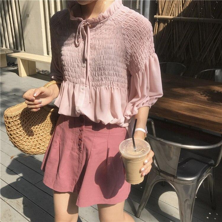 2018 Zomer Nieuwe Vrouwen Kleine Verse Chic Losse Chiffon Overhemd