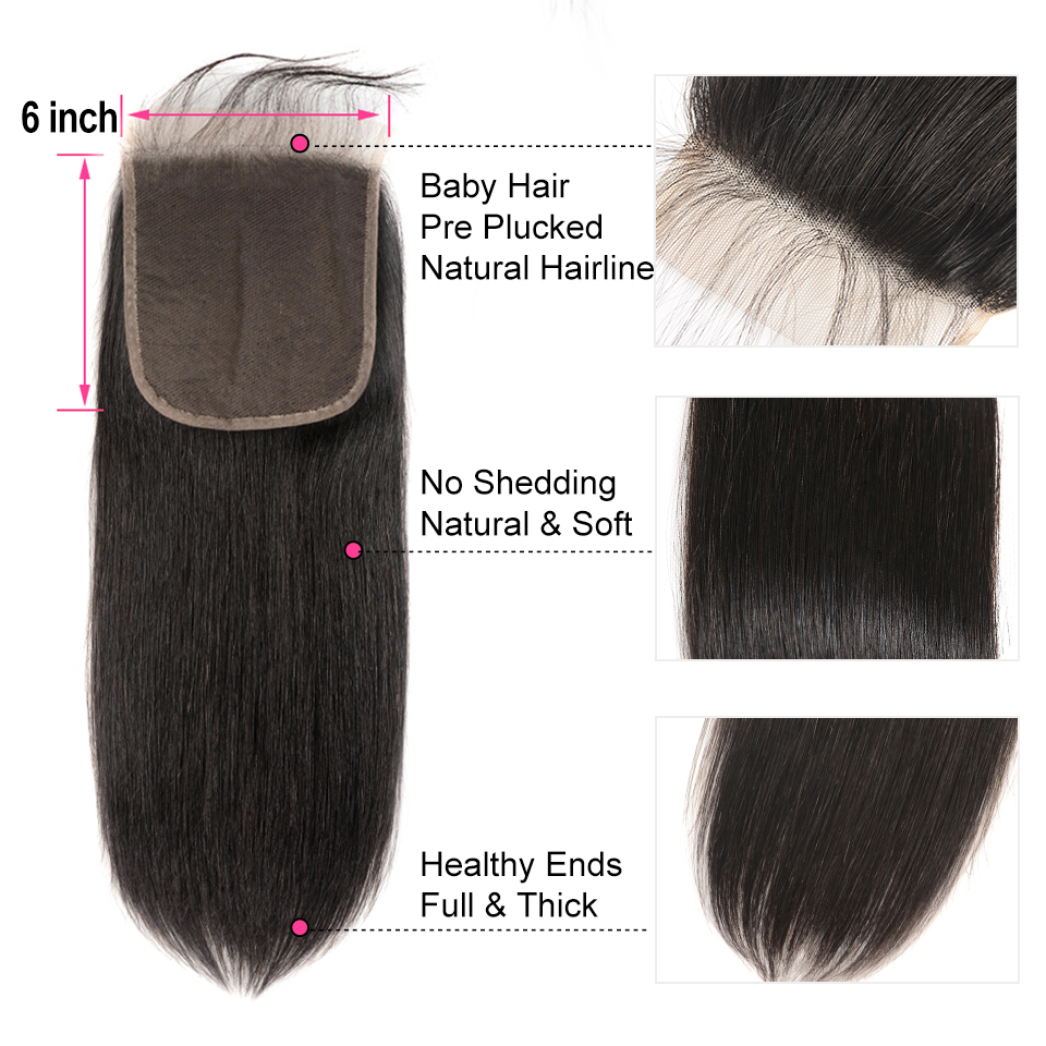 AliPearl Human Hair Bundles With Closure 6x6 Transparent Pre Plucked Brazilian Straight Bundles With Closure Remy Hair Extension