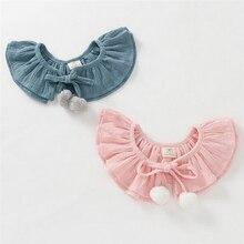 Дизайн, милый бант с помпонами для девочек, двойной галстук-бабочка для маленьких детей, фальш-воротник, детский хлопковый галстук-чокер на шнуровке, подарок для девочки