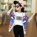Linho jaqueta casaco menina 2016 chegada nova moda kawaii rainbow stripes cardigan menina meninas dress outono crianças roupa dos miúdos