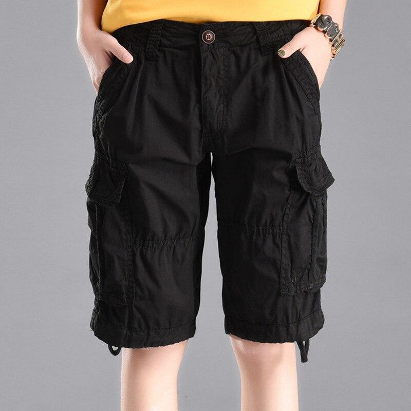 Plus Size 2018 Summer Men/Womens Army Green Loose Jeans Trousers Multi-Pocket Denim Military Shorts Cargo Pants Pantalon Femmes