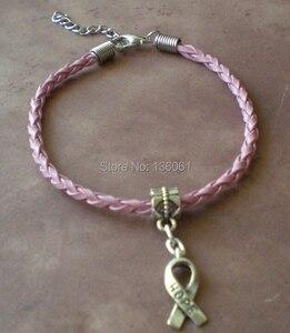 Image 2 - 50PCS Vintage Silvers Charms Hope  Ribbon Bracelets Pink Weave Leather Good Luck Bracelets Bangles For Women Accessories X298
