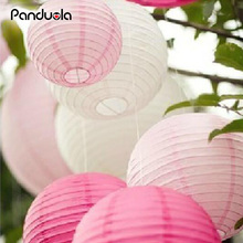 (5pcs/Lot) 8''(20cm) Round Chinese Lantern White Paper Lanterns For Wedding Party Decorations sky lanterns halloween decoration(China)