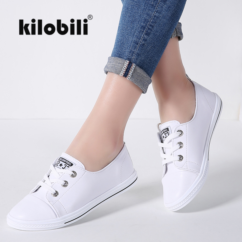 Kilobili 2018 Spring Women Flats Ladies Lace Up Ballet Flats Loafers Leather Shoes Women Casual Boat Shoes Ladies White Sneaker
