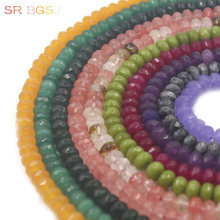 Free shipping  5x8mm Faceted Rondelle Gems Natural Stone Jade Spacer Craft Loose  Beads Strand 15 36 40pcs strand faceted aventurine rondelle spacer loose beads natural green gems stone cut nugget pendant beads jewelry making