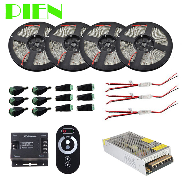 20m 15m 10m 5m LED Ribbon strip light lumiere Dimmable Waterproof 12V + RF Touch Controller +Power Adapter Kit Free shipping