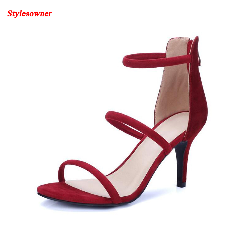 ФОТО Stylesowner fashionable red open toe cut-outs sandals striped stiletto heel woman sandals 2017 summer new coming shoe