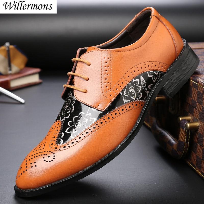 L Men/'s Shiny Brogue Lace Up Pointy Toe Metal Formal Flat Heel Dress Oxford Shoe