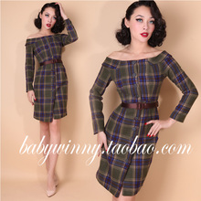 FREE SHIPPING 2016 New Vintage Classic Sexy Earth Tones Plaid Wool Single-breasted Strapless Dressees Women Fashion Vestidos