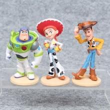 3 Pcs Toy Story 4 Gambar Set Woody Buzz Lightyear Jessie Action Figure Dekorasi Kue Mini Figures, Mainan Model Boneka mainan Anak