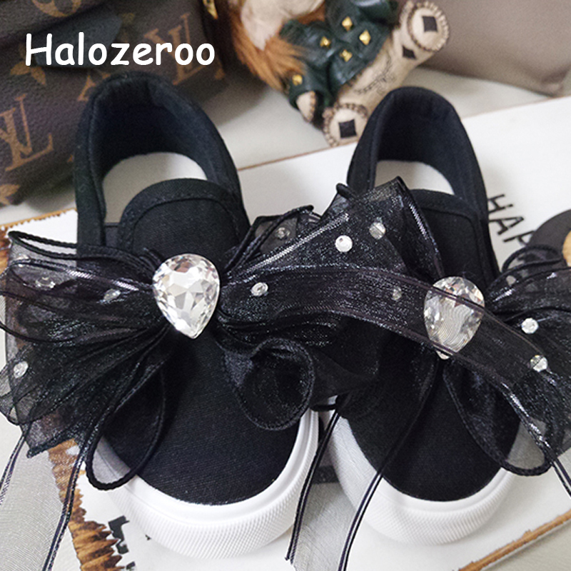 Autumn 2019 Kids Bow Casual Sneakers Baby Girls Rhinestone Canvas Shoes Children Sport Sneakers Toddler Slip On Sneakers Trainer