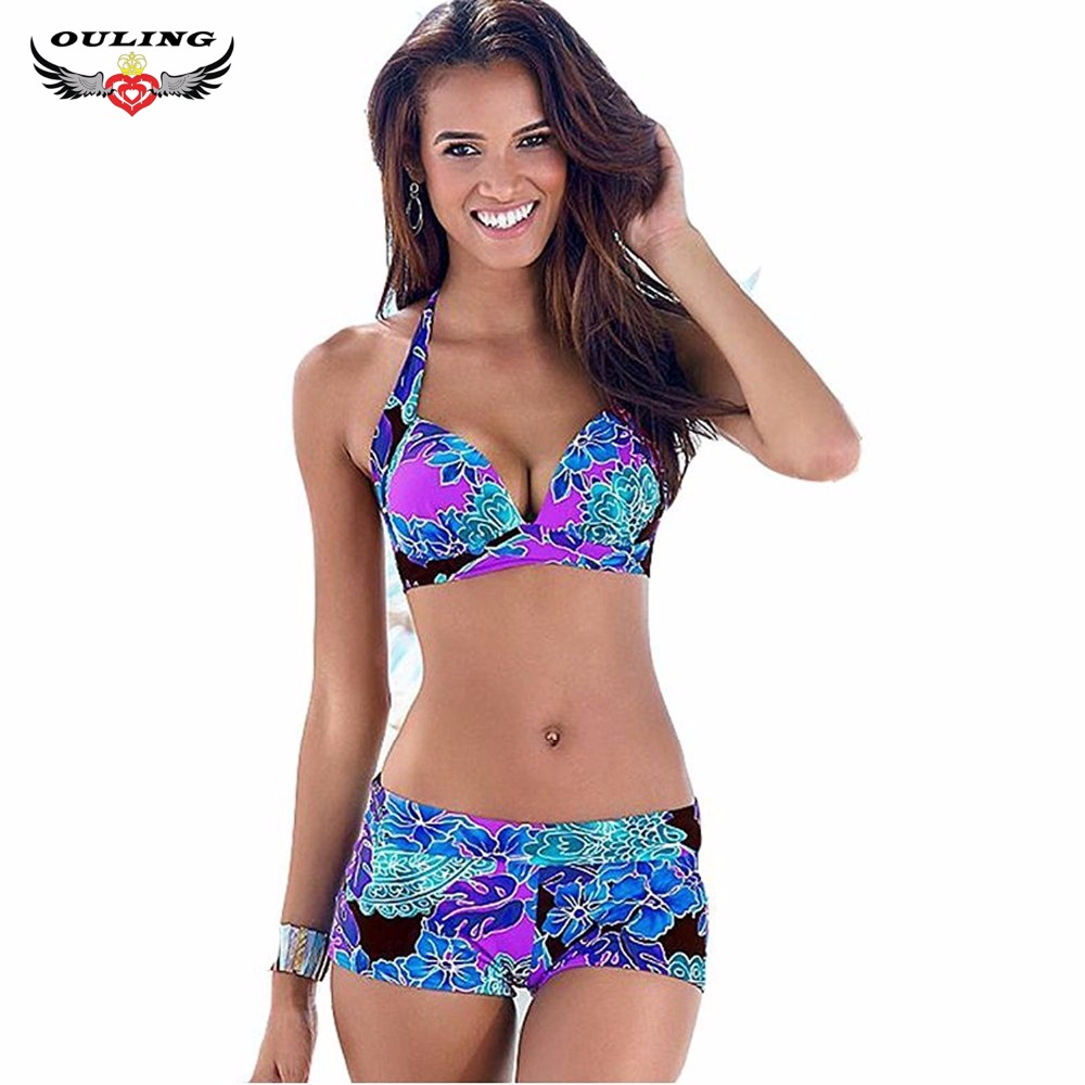 OULING Womens Bikini Top + Surfing Short Two Pieces Swimwear Swimsuit Push Up Padded Bathing Suit Plus Size Set XXXL