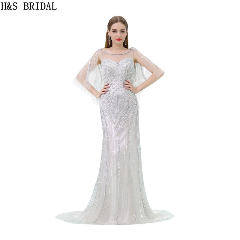 H&S BRIDAL Illusion Sheer Neck Crystal Sliver   Evening     Dress   Sexy Tulle Low Back   evening     dresses   luxury 2017 Mermaid   Evening   Gown