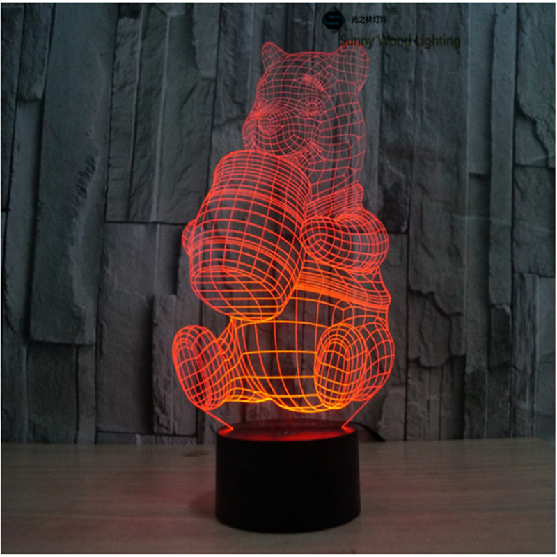 Винни переключатель LED 3D, визуальную иллюзию 7 видов цветов Изменение 5 В USB для ноутбука, Рождество мультфильм игрушки лампы