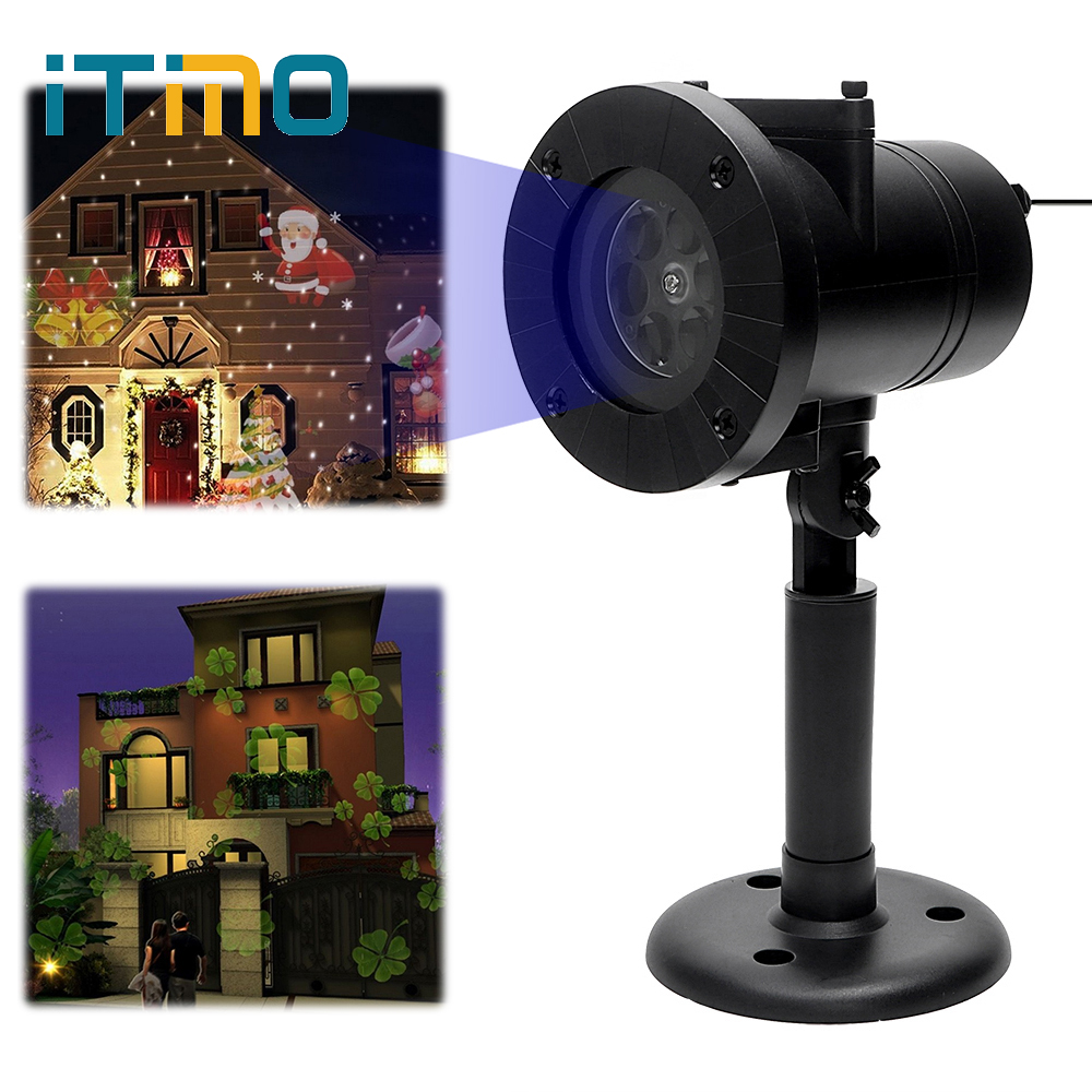ITimo Christmas Laser Snowflake Projector Light Holiday Decoration 12 Patterns Home Garden Snow LED Stage Lamp Outdoor Lighting цена 2017