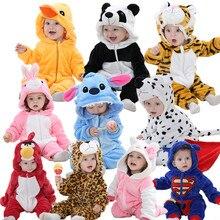 Новинка; детские комбинезоны; Одежда для девочек; пижамы с героями мультфильмов для новорожденных; теплые зимние пижамы с животными; roupas de bebe recem nascido