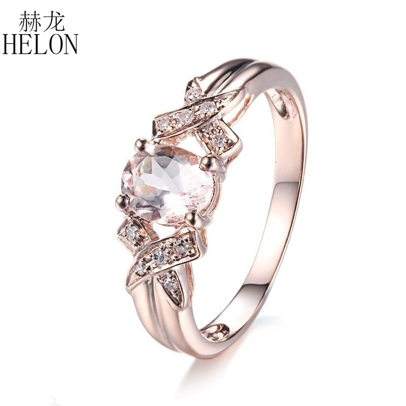 HELON Solid 10K Rose Gold Oval Cut 7x5mm Morganite Natural Diamonds Ring Engagement & Wedding Gemstone Fine Jewelry Gift Ring helon solid 10k rose gold oval cut 7x5mm morganite natural diamond ring engagement wedding gemstone ring gift jewelry setting