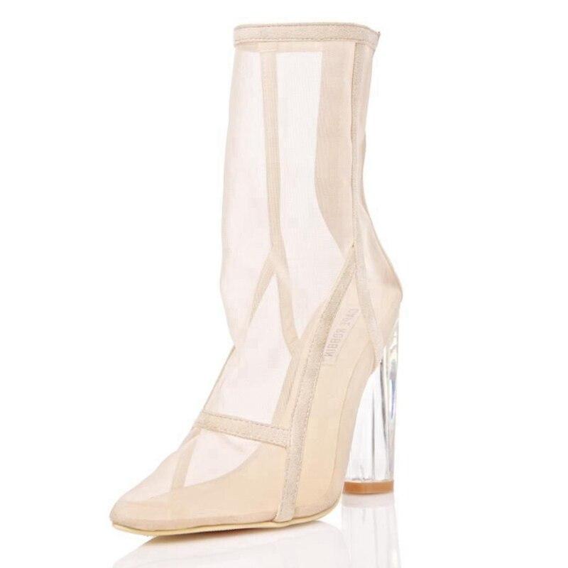 THEMOST Новый Для женщин сетки сапоги ясно Perspex Heel сетки ботильоны прозрачный толстый каблук летние сапоги не сужающийся к низу каблук женские ...