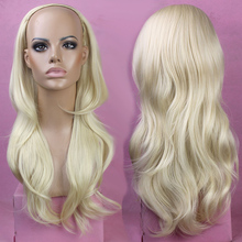 Ladies sexy Blonde Cheap Fake Hair 3/4 Wig 26 Long Wavy Artificail Realistic Female Heat Resistant Wigs FREE SHIPPING