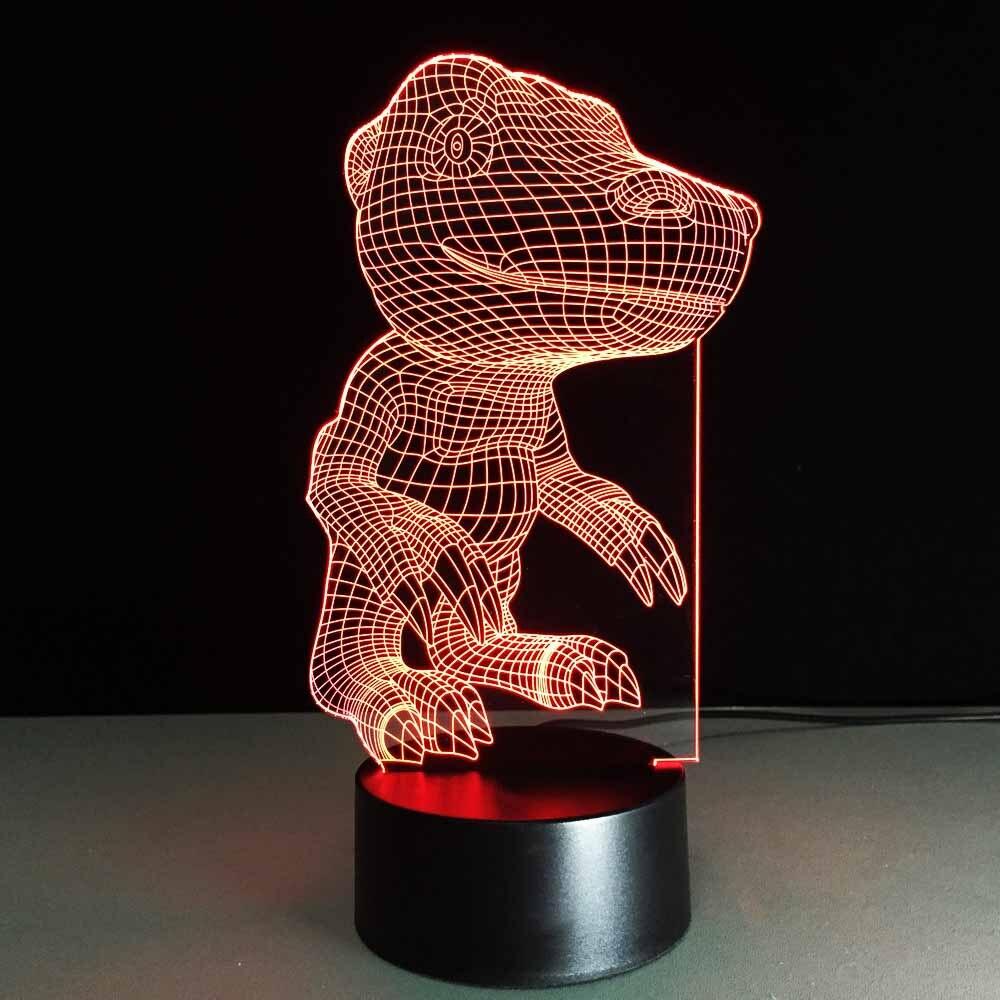 Lamparas Color Glass Led Table Lamp Hand Made Tiffany Desk: Cartoon Monster 3D Night Light USB LED Dinosaur Table Lamp