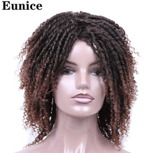Short Synthetic Wigs For Women Eunice Hair 14 Soft Dreadlocks Wig Ombre Black Bug Crochet Braids Heat Resistant