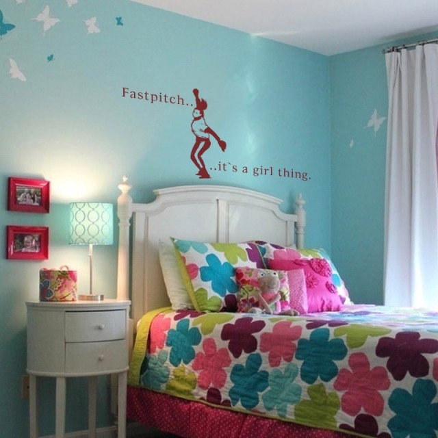 BATTOO Large Wall Decals  Baseball Wall Art Fastpitch Softball Sport Girls  Room Decor Vinyl Wall
