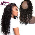 New 360 Lace Frontal Closure Deep Wave 8A Peruvian Virgin Hair 360 Full Lace Band Frontal Closure With Baby Hair Human Hair