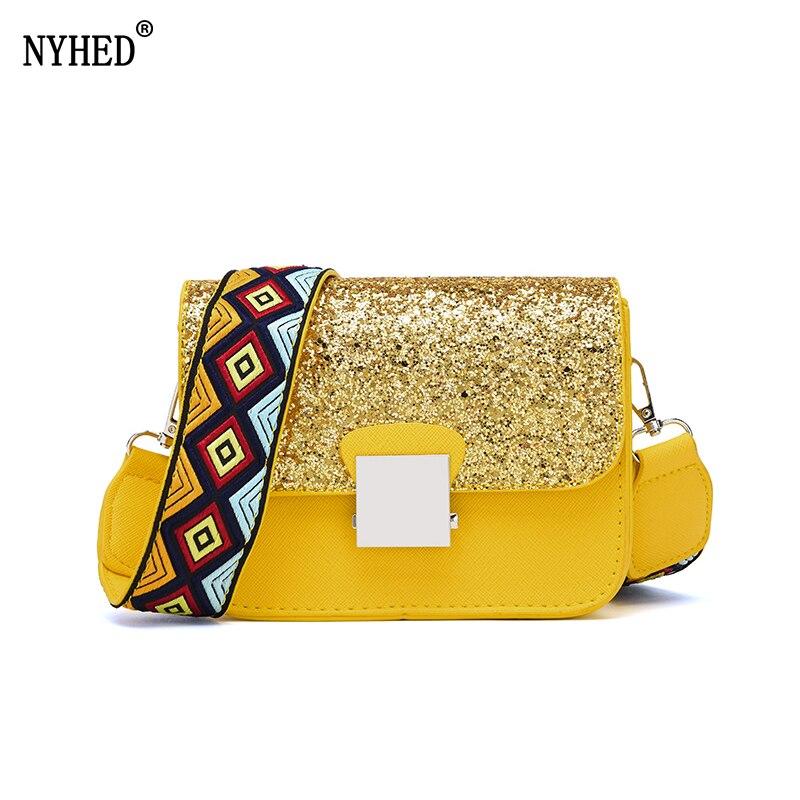 NYHED Wide Strap Shoulder Bag Women Fashion Sequins Small Flap Crossbody Bag Girls Messenger Bag