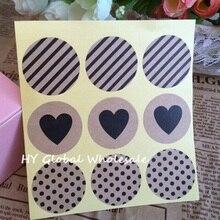 90 шт. винтажная мода сердце+ точки+ саржевая серия круглые Стикеры из крафтовой бумаги для изделий ручной работы подарочная печать, наклейка, ярлык