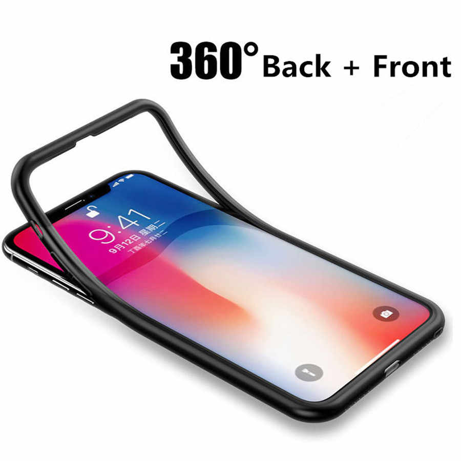 360 TPU Full Soft Matte Case For iPhone X XR XS MAX 7 Plus 5 5s SE 6s 6 8 Huawei P20 Mate 20 Lite Honor 10 Nova 3 Silicone Cases
