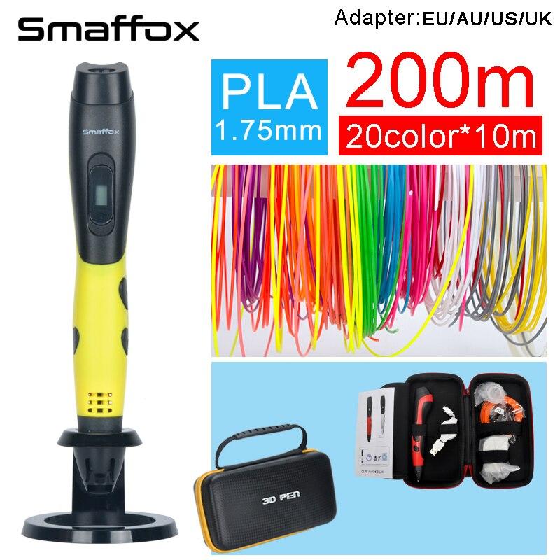 SMAFFOX 3D pluma SMA-04 200 metros PLA filamento 3D impresión plumas con pantalla oled cuatro colores chico diy herramienta de dibujo moldeo pluma 3D