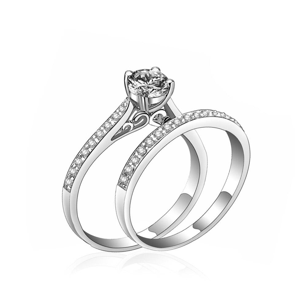 FAMSHIN Charm Silver Ring Womens Jewelry Crystal Wedding Jewelry